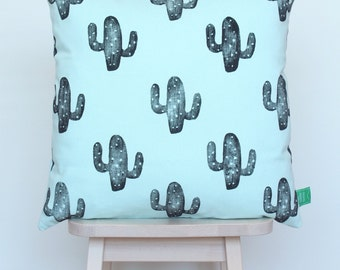 Cushion cover light blue with black cactus