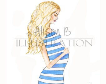 New baby card - Maternity card - Pregnancy card - Fashion illustration -personalised card- new mommy card- mom to be card-