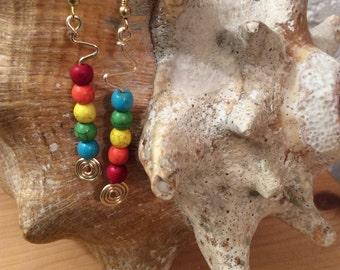 Rainbow Stone-like Beaded Wire Wrap Earrings