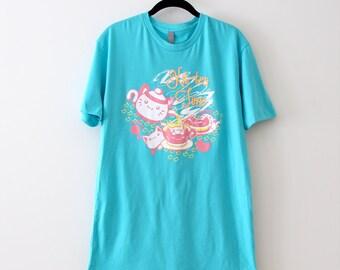 Blue Kit-tea Time Tshirt