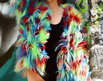 Colorful Bold Faux Fur Coat (Hooded)