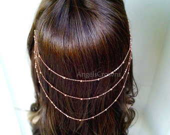 Rose Gold Hair Chain Headpiece pink gold Hair Jewelry Head Chain Hair Accessories Headpiece Grecian bridal Hair tiara copper wedding