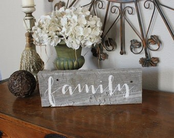 Reclaimed wood sign: FAMILY - Home Decor