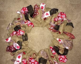 Valentine's Day burlap wreath