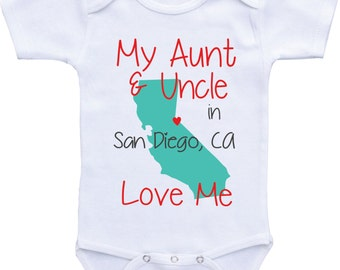 Personalized country state map uncle onesies uncle and aunt and uncle baby clothes my uncle and aunt love me onesie from different state negle Images