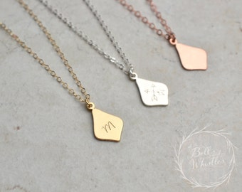 Initial Necklace, personalized necklace, Gold, Silver, Rose Gold, personalized Initial Necklace, flower petal necklace, birthday gift, PETAL