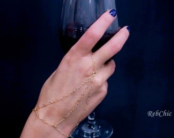 Gold slave ring – Gold chain ring – Gold ring bracelet – Gold ring chain – Gold harness chain – Gold slave bracelet – Gold bracelet