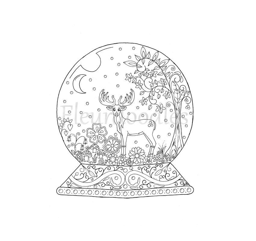 christmas snow globes coloring pages | adult coloring page Snow Globe instant download