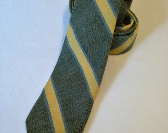 Skinny Tie - Green with Yellow and Blue Stripes, Wool and Cotton Blend