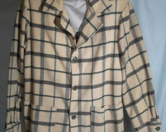 Wool blue and gray plaid day jacket, size med/large