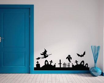 Halloween Witch Ghost Bat Wall Vinyl Decal, Halloween Wall Decor, Halloween Wall Decal Set, Pumpkin Halloween Wall Decal