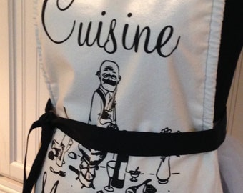 Chef style full apron Paris theme Chat Noir