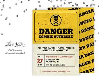 Zombie Party Invitations - Zombie Invitations - Zombie Apocalypse - Halloween Party Invitations - Printable Halloween Invitations - Zombies