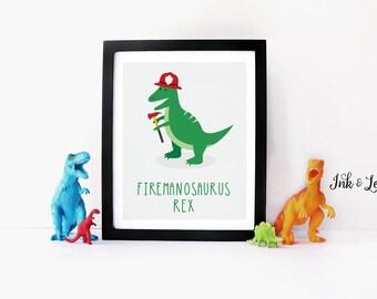 Dinosaur Print - Dinosaur Pun - Firefighter Decor - Dinosaur Nursery - Dinosaur Playroom Decor - Instant Download - Digital Printable - 8x10
