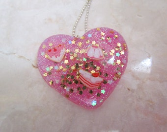 CAKE PARTY Resin Heart Charm Necklace