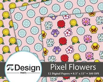 "Floral Pixel Digital Paper Set   8.5""x11""   12 Pack Digital Paper   Printable Paper   Video Game Digital Paper Set   16 Bit Style   Retro"