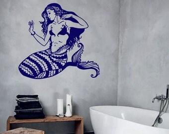 Wall Vinyl Decal Mermaid Greek Creature Aquatic Sea Water Bubbles Nautical Beach Modern Home Decor (#1185dz)
