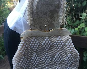 Vintage White Bead Handbag, 1960s