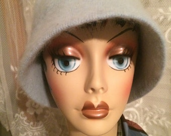 Baby Blue Lambs Wool and Angora Cloche Hat, 1980s