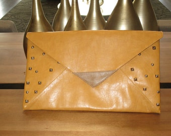 Over sized envelope clutch, Envelope purse, Mustard Clutch with silver studs, Unique clutch, silver studs