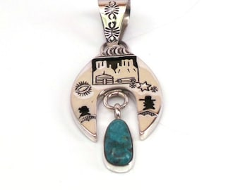 Handmade Native American Navajo Sterling Silver Turquoise Pendant