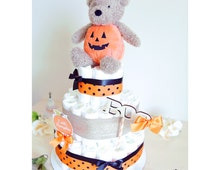 Little Pumpkin Diaper Cake for baby Boy Girl / Gold Brown Black Orange /  Baby Shower Centerpiece Nursery decoration / Unique gifts favors