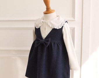 Blue Denim Dress with Bow for baby girl / baby girls outfits / Spring Summer playsuit / holiday clothing / 12m 18m 24m / Easter /