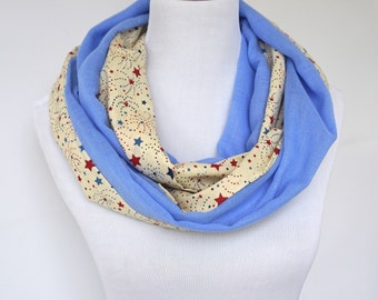 Blue Infinity Scarf with Stars, Two Sided Scarf, Cotton Scarf, Double Layered Scarf, Summer Scarf, Loop Scarf, Fashion Scarf, Gifts For Her