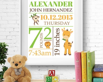 Birth stats print, wall art, birth announcement poster, birth details, customised, jungle/safari animals, giraffe, monkey, boy, digital