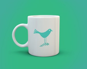 Bird on a twig mug, bird mug, blue bird