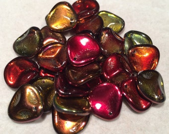 Rose Petal Beads, 14x13mm, Crystal Magic Wine, 00030-95200, 25 Beads, Czech Glass