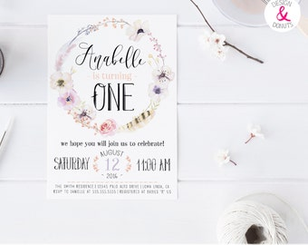 Boho, Fairy, Girl Birthday Invitation, First, 2nd, 3rd, Birthday Invites [247]