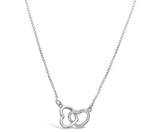 Hearts Intertwined Design - Thin Silver Necklace Intertwined Hearts - Silver Long Heart Necklace - Open Heart Necklace - Two Hearts Necklace