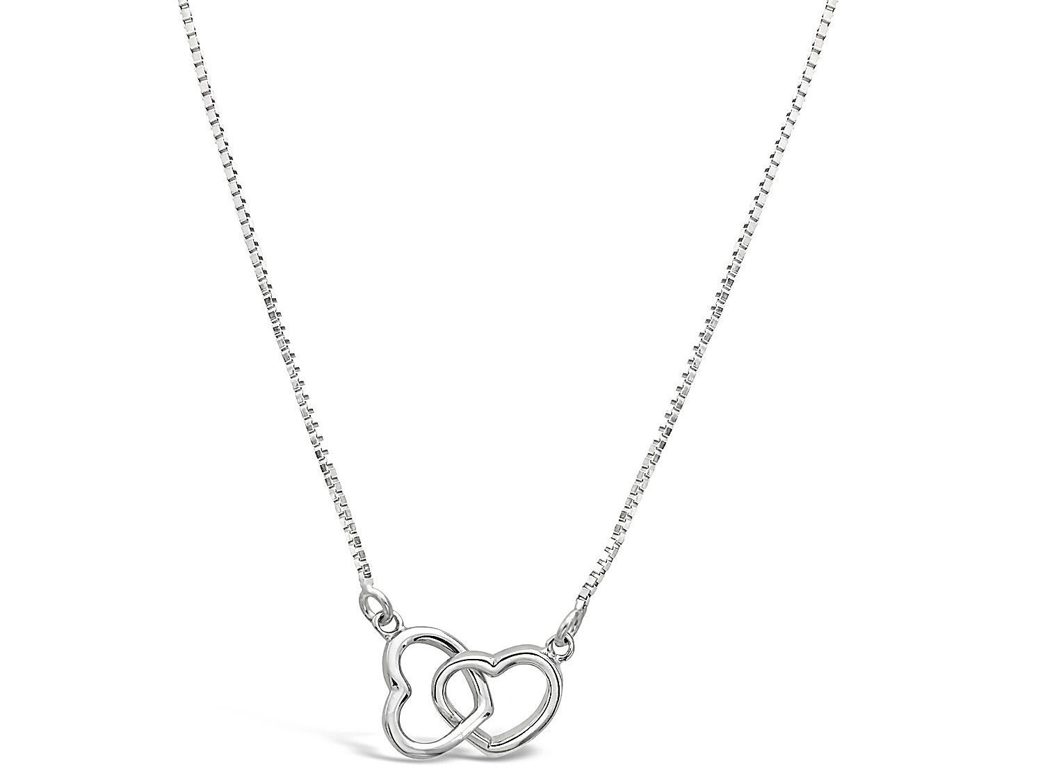 Hearts Intertwined Design Thin Silver Necklace Intertwined