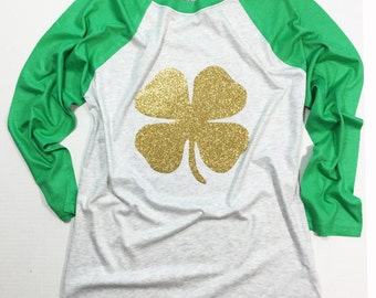 St. Patrick's Day Shirt, St. Paddy's Day shirt, St Patrick's Day Glitter shirt, Gold and Green Glitter, UNISEX