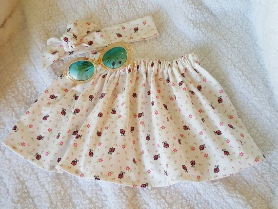 Lady Bug- baby skirt -toddler skirt- Headwrap-Bloomers