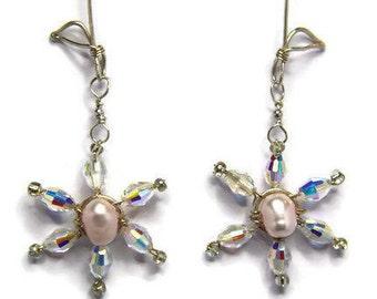 Large Sterling Silver Daisy Drop Earrings