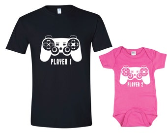 Father Daughter Matching Shirt Onesie Player 1 Player 2 Shirts Dad and Baby Matching Shirts Matching Family Shirts Girl Clothes Father's Day