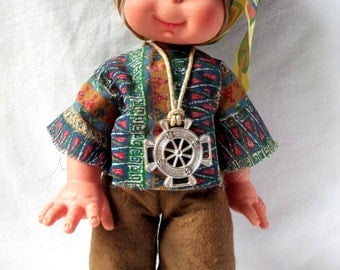 Doll vintage Fiba / Indian doll 1970 / vintage toy / Indian cowboy.