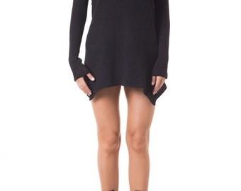 Black Sweater Dress, Casual Dress, Futuristic Clothing, Winter Dress, Cyberpunk Clothing, Long Sleeve Dress, Turtleneck Dress, Short Dress