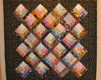 Floral Log Cabin Quilted Wall Hanging  50 x 50 Free Shipping