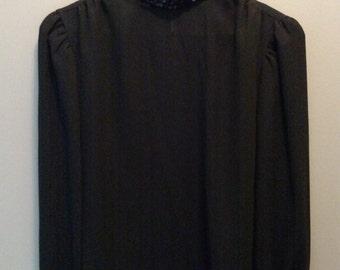 Vintage Lauren Lee Black Georgette Blouse/Sequin Neck and Cuffs/Liza Minelli Style Costume