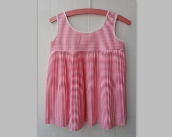 Pink Pleated Vintage Girl Summer Dress