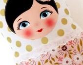 "Babushka matryoshka softie plush doll pillow gift, extra large, 47cm/18.5"" tall, gold polka dots and floral style"