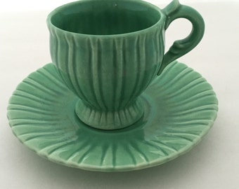 Vintage Art Pottery//Vintage Art Pottery Cup and Saucer//Vintage Demitasse Cup and Saucer//Green Cup and Saucer