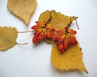 """Quilled Earrings """"Hello, autumn"""", Fall Earrings, Autumn Jewelry, Woodland Jewelry, Maple leaf Dangle Earrings, paper quilling"""