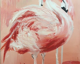 "Two Flamingos ORIGINAL PAINTING Acrylic on box canvas 18"" x 14"""