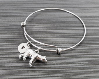 Polar Bear Bangle - Bear Charm Bracelet - Expandable Bangle - Charm Bangle - Polar Bear Bracelet- Best Friend Bracelet - North Pole Bracelet