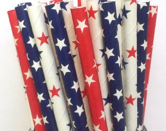 Red, White and Blue Paper Star Straws - Set of 25- 4th of July Paper Straws - Cake Pop Sticks