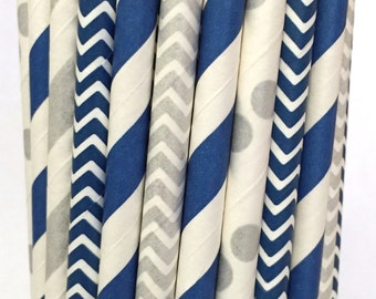 2.85 US Shipping -Blue and silver straws - Silver and blue straws - Cake Pop Sticks - Drinking Straws